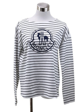 Moncler White Black Striped Top sz 4