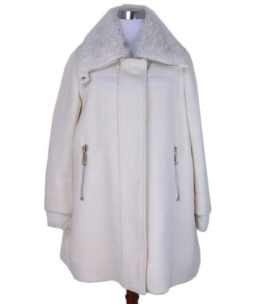 Moncler White Wool Curly Lamb Coat 1
