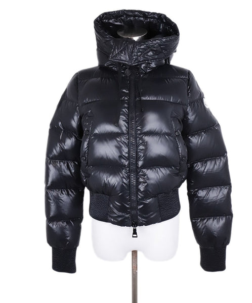 Moncler Black Nylon Down Hood Short Coat 1