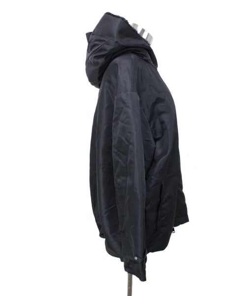 Coat Moncler Size 4 Black Polyester Mink Down Outerwear