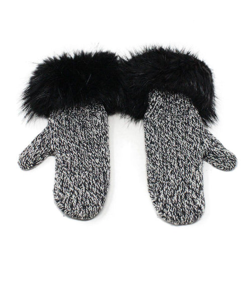 Moncler Black and White Knit Mittens with Beaver Fur Trim