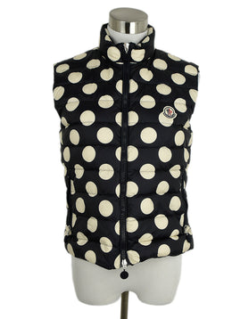 Moncler Blue Navy White Polka Dots Vest Outerwear 1