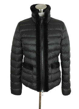Moncler Grey Charcoal Nylon Mink Trim Coat 1