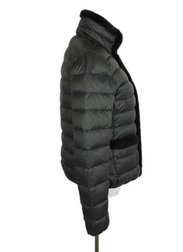 Moncler Grey Charcoal Nylon Mink Trim Coat 2