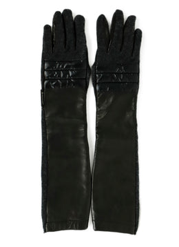 Moncler Black Leather Grey Cashmere Gloves Sz. Medium 1