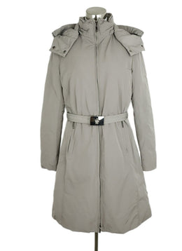 Moncler Grey Nylon Down Lining Belted Hood Coat 1