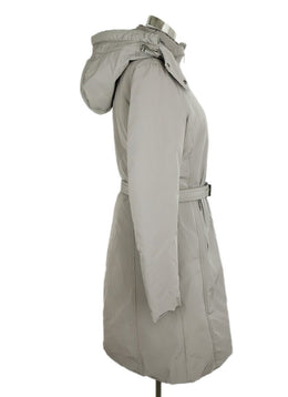 Moncler Grey Nylon Down Lining Belted Hood Coat 2