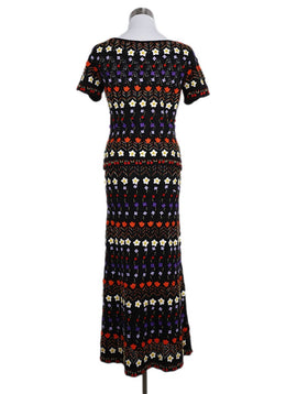 Moschino 2 Piece Black Orange Red Purple Wool Flower Dress 2