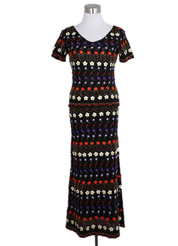 Moschino 2 Piece Black Orange Red Purple Wool Flower Dress 1