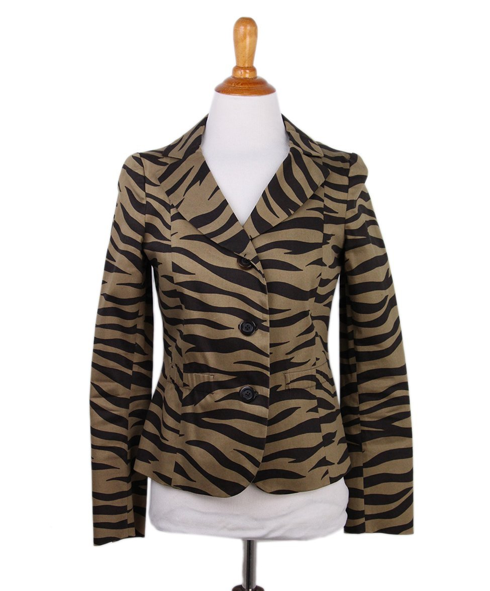 Moschino Brown Tan Animal Print Jacket 1