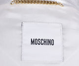 Moschino Metallic Silver White Leather Jacket 4