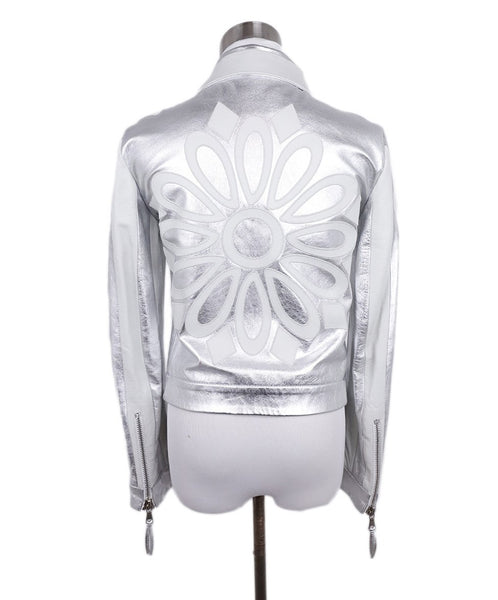 Moschino Metallic Silver White Leather Jacket 3