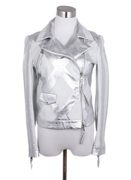 Moschino Metallic Silver White Leather Jacket 1
