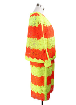 Moschino Neon Yellow and Orange Crochet Pattern Skirt Suit 2