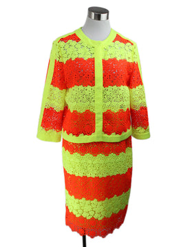 Moschino Neon Yellow and Orange Crochet Pattern Skirt Suit 1