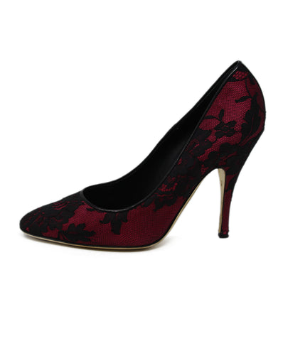 Moschino Red Satin Black overlay heels 1