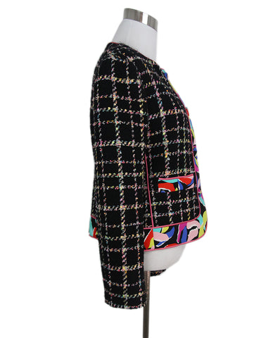 Moschino black pink multi tweed jacket 1