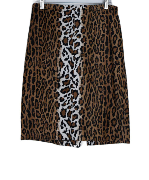 Moschino Brown Black Leopard Print Polyester Rayon Skirt 1