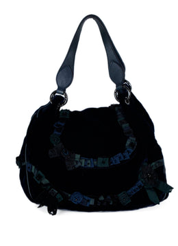 Moschino Navy Velvet Green Navy Plaid Beaded Ribbon Shoulder Bag Handbag 1