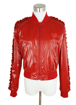 Moschino Red Polyester Ruffle Trim Jacket 1
