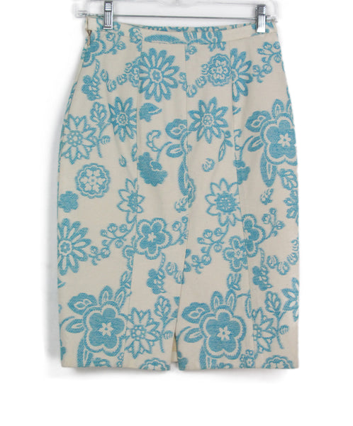 Moschino white aqua floral skirt 1