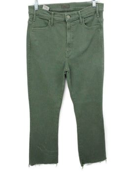 Mother Green Olive Denim Pants 1