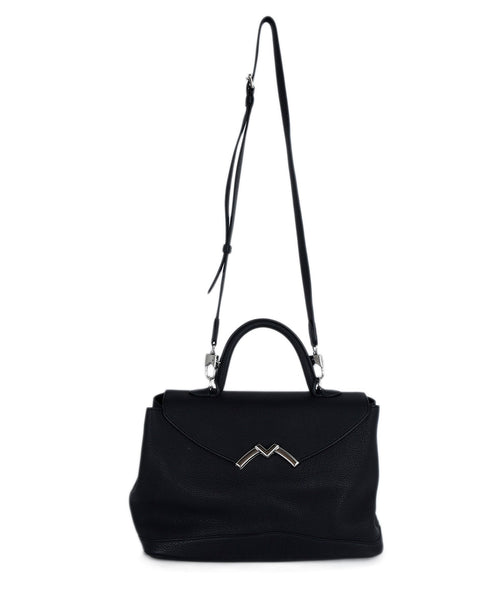 Moynat Black Leather Satchel Handbag 1