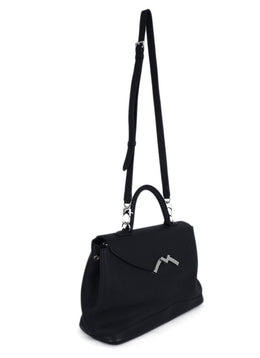 Moynat Black Leather Satchel Handbag 2