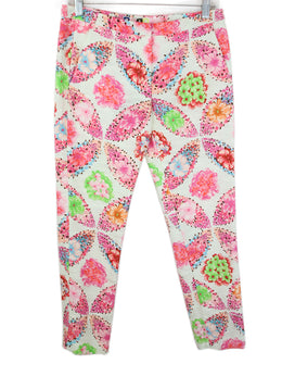 Msgm Pink White Floral Cotton Pants 1