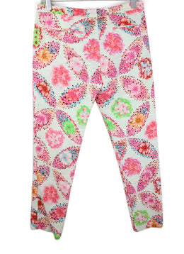 Msgm Pink White Floral Cotton Pants 2