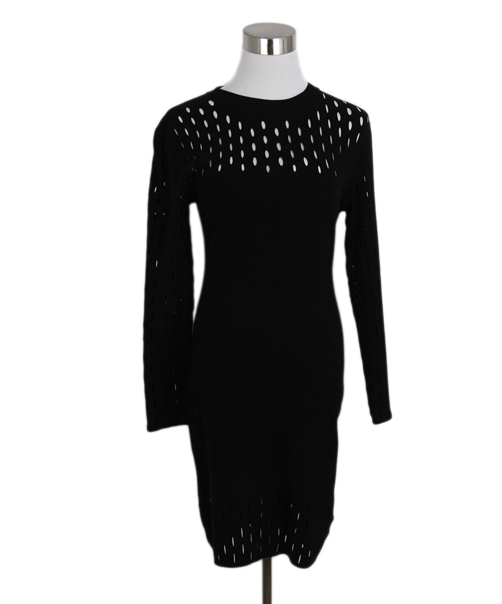 Mugler Black Viscose Polyester Dress 1