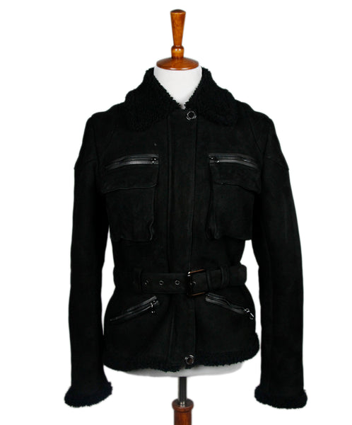 Mulberry Black Shearling Leather trim Coat Sz 4
