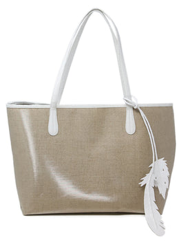 Nancy Gonzalez Beige Coated Linen Tote 1