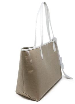 Nancy Gonzalez Beige Coated Linen Tote 2
