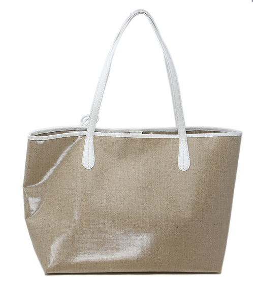 Nancy Gonzalez Beige Coated Linen Tote 3