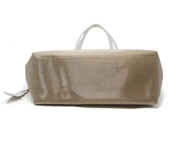 Nancy Gonzalez Beige Coated Linen Tote 4