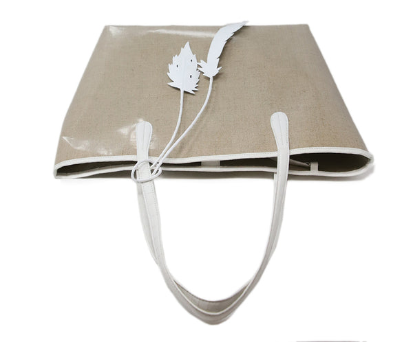 Nancy Gonzalez Beige Coated Linen Tote 5