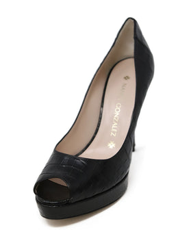 Nancy Gonzalez Black Crocodile Heels 1