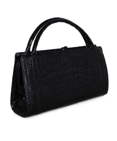Nancy Gonzalez Black Crocodile Satchel 1