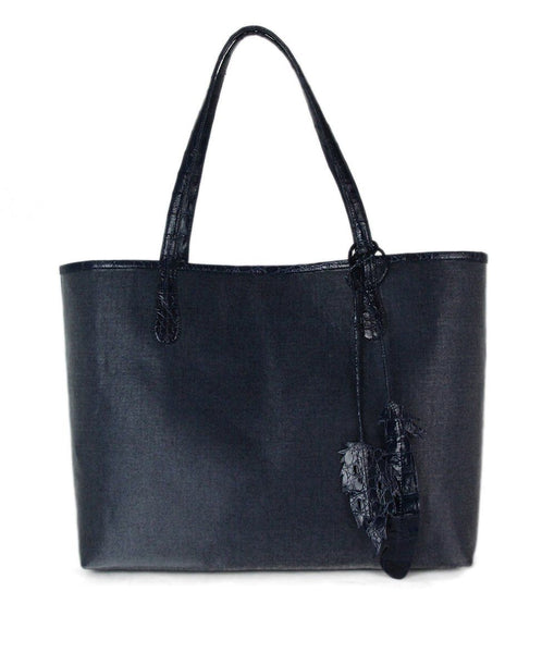 Nancy Gonzalez Blue Erica Medium Linen Leaf Tote Bag 1