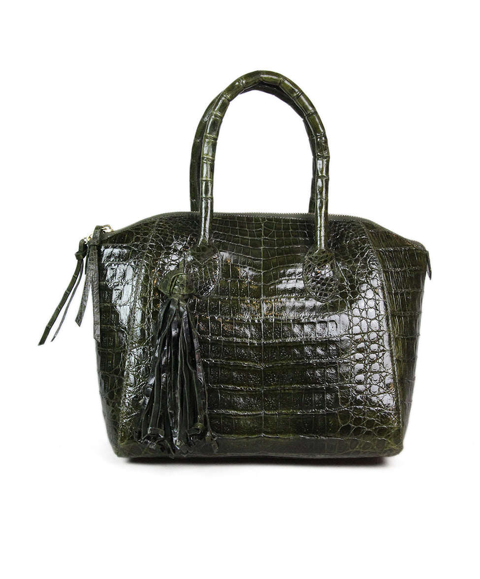 Nancy Gonzalez Green Alligator Handbag 3