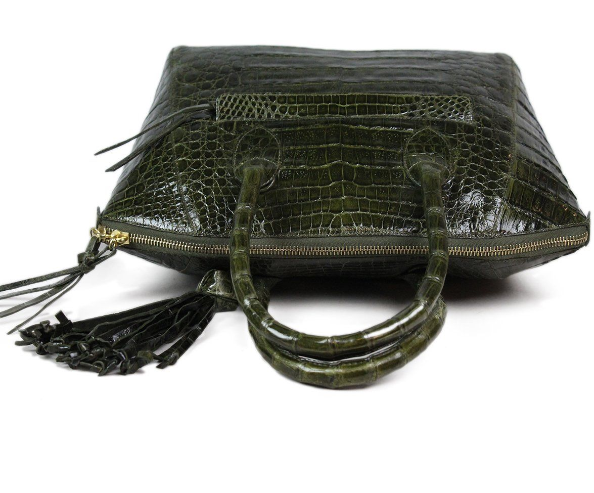 Nancy Gonzalez Green Alligator Handbag 5