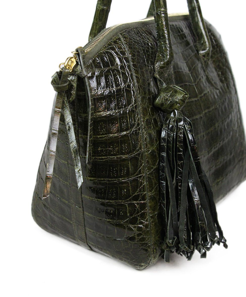 Nancy Gonzalez Green Alligator Handbag 6