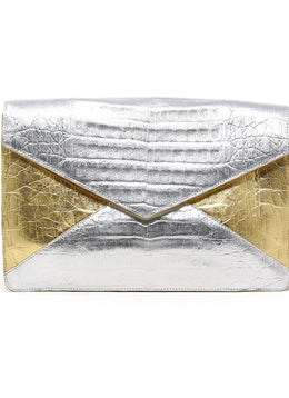 Nancy Gonzalez Metallic Gold and Silver Crocodile Clutch