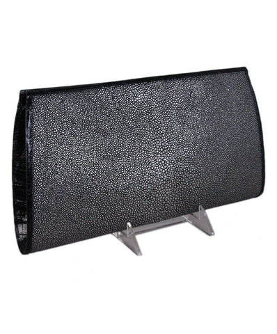 Nancy Gonzalez Silver Sting Ray Black crocodile clutch 1
