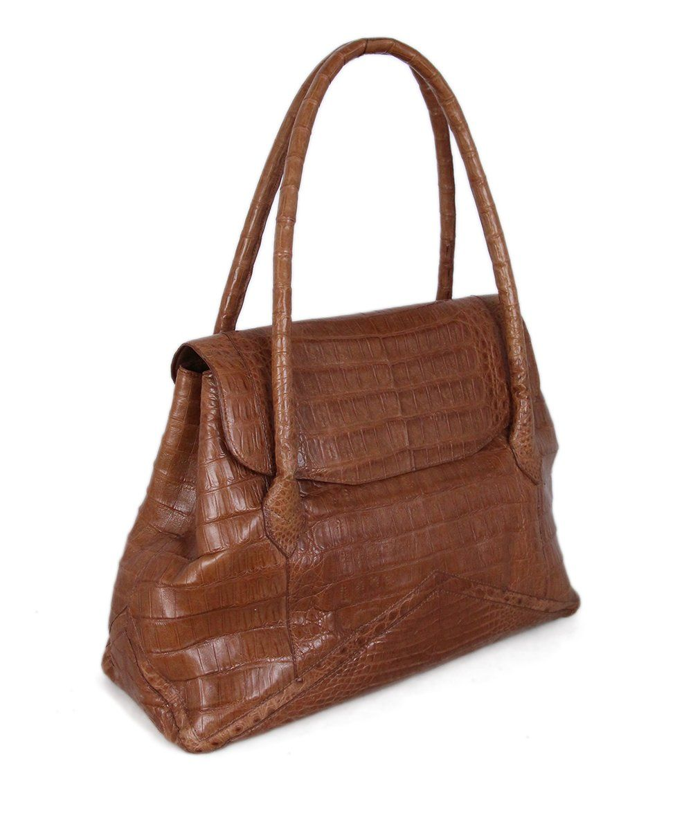 Nancy Gonzalez Tan Alligator Satchel 2