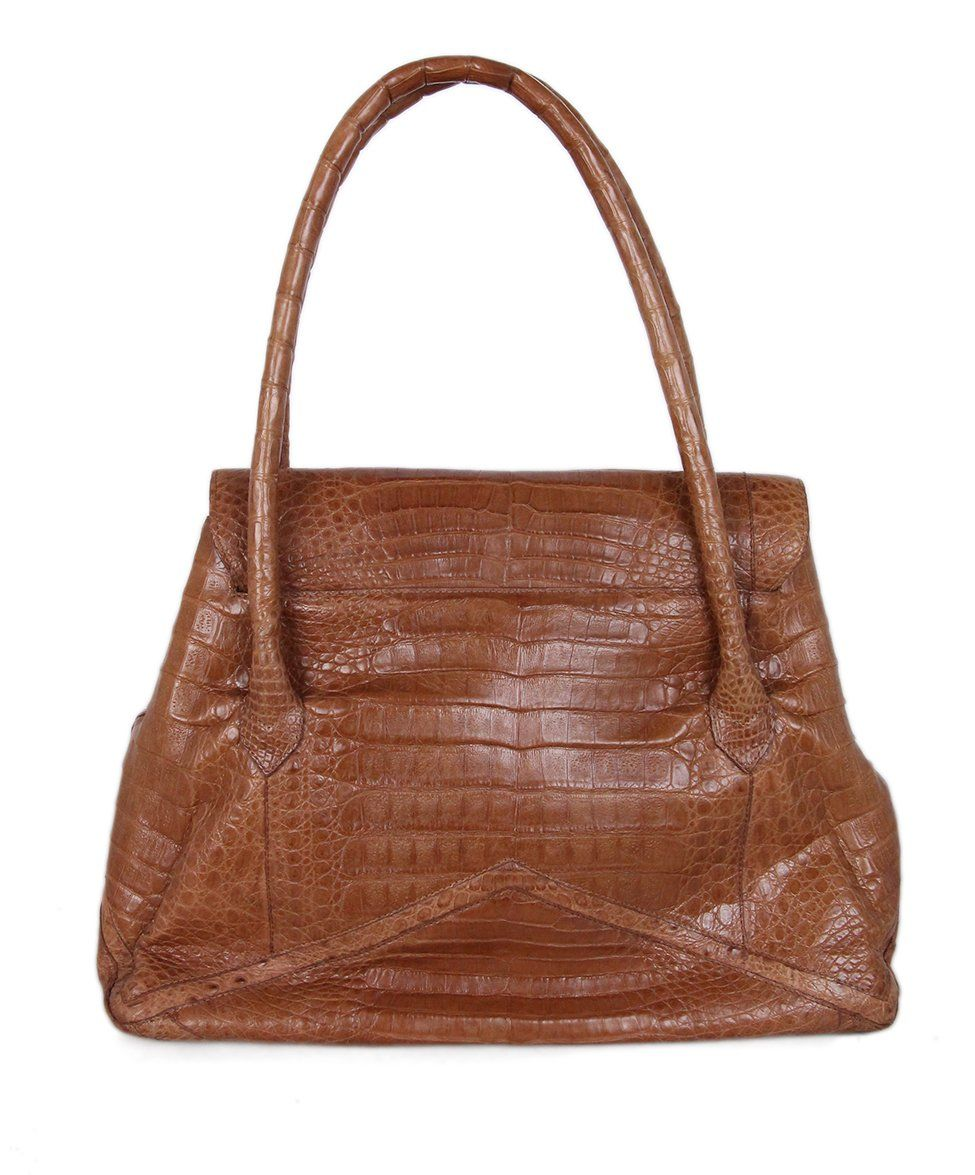 Nancy Gonzalez Tan Alligator Satchel 3