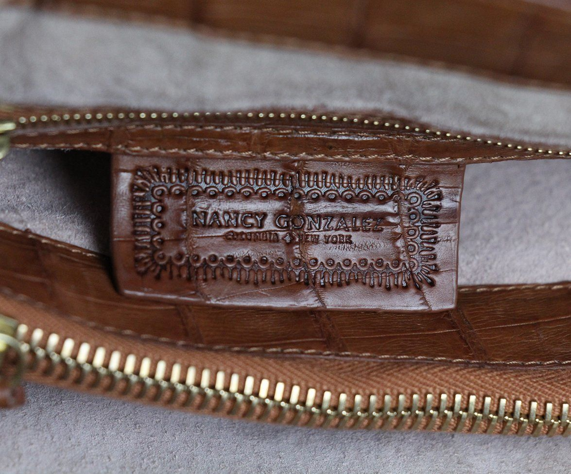 Nancy Gonzalez Tan Alligator Satchel 7