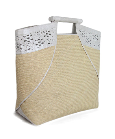 Nancy Gonzalez White Pearl Crocodile Straw Tote 1