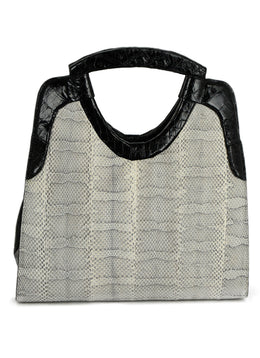 Nancy Gonzalez Black Crocodile and Grey Snake Skin Handbag | Nancy Gonzalez